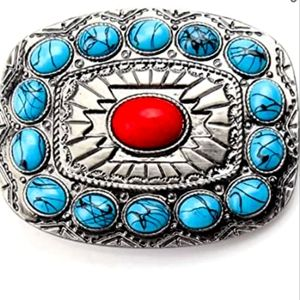 New Western turquoise and red belt buckle